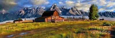 Photograph - Moulton Barn And The Grand Tetons Long by Blake Richards