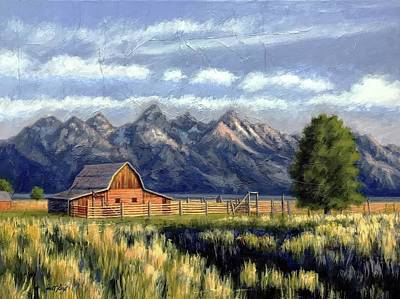 Painting - Moulton Barn At The Grand Tetons by Janet King