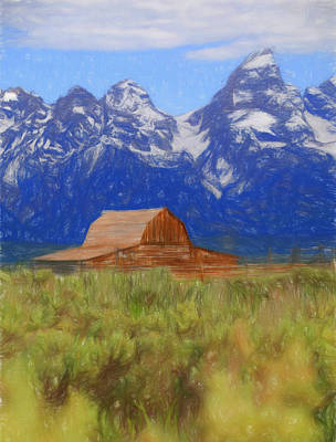 Teton Mixed Media - Moulton Barn Color Sketch by Dan Sproul