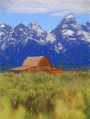 Row Mixed Media - Moulton Barn Color Sketch by Dan Sproul
