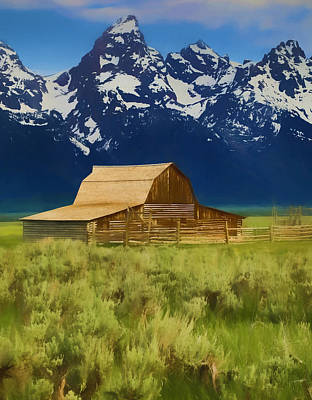 Teton Mixed Media - Moulton Barn In Spring by Dan Sproul