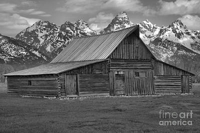Moulton Barn Springtime Black And White Art Print by Adam Jewell