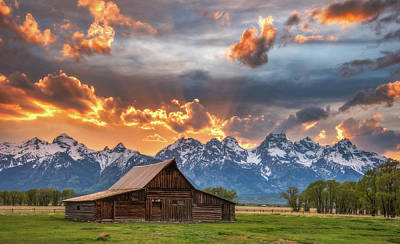 Teton Mountains Photograph - Moulton Barn Sunset Fire by Darren White