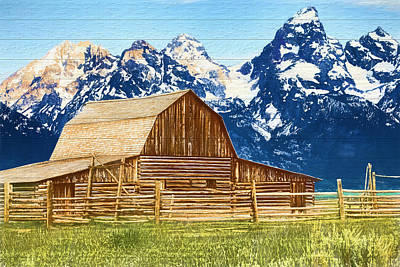 Barns In Snow Mixed Media - Moulton Barn Wood Panels by Dan Sproul