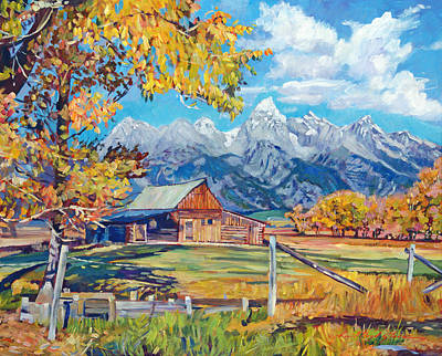 Country Side Painting - Moulton's Barn Grand Tetons by David Lloyd Glover