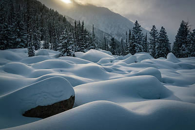 Mounds Of Snow In Little Cottonwood Canyon Art Print by James Udall