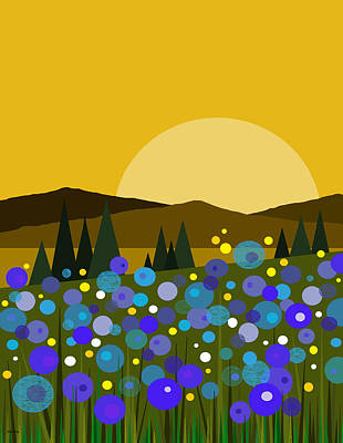 Digital Art - Mounntain Meadow Sunrise - Bluebells by Val Arie