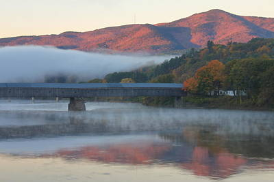 Photograph - Mount Ascutney And Windsor Cornish Bridge Sunrise Fog by John Burk