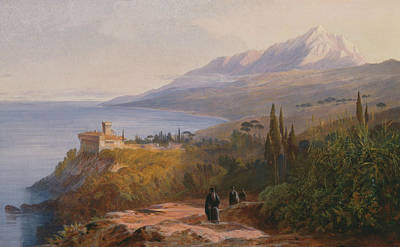 Painting - Mount Athos And The Monastery by Edward Lear