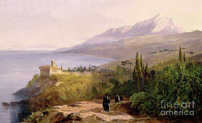 Mount Athos And The Monastery Of Stavroniketes Art Print by Edward Lear