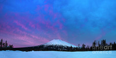 Royalty-Free and Rights-Managed Images - Mount Bachelor Dawn Sky by Twenty Two North Photography