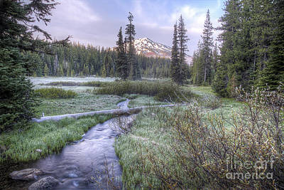Mount Bachelor From Soda Creek At Sunrise Art Print by Twenty Two North Photography