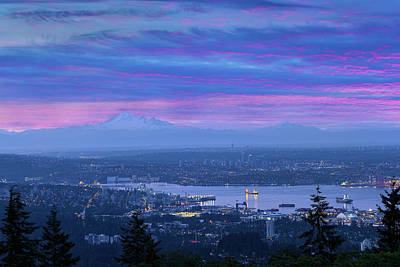 Photograph - Mount Baker And Vancouver Bc At Dawn by David Gn