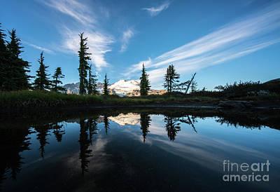 Photograph - Mount Baker Cloudscape Reflection by Mike Reid