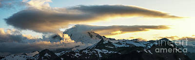 First Snow Photograph - Mount Baker Cloudscape Sunset Panorama by Mike Reid