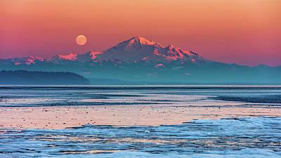 Mount Baker Full Moon At Sunset Original