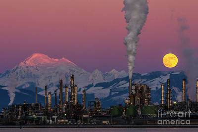 Photograph - Mount Baker, Refinery, And The Wolf Moon by Paul Conrad