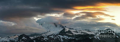 Photograph - Mount Baker Sunset Cloudscape Drama Panorama by Mike Reid