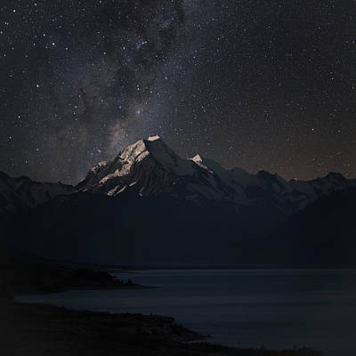 Photograph - Mount Cook And Lake Pukaki At Night by Martin Capek
