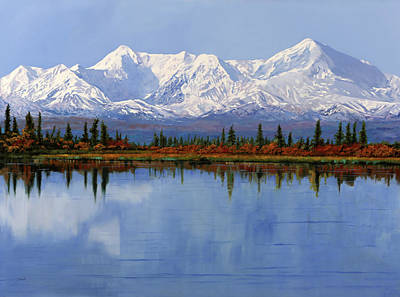 Mount Rushmore Wall Art - Painting - mount Denali in Alaska by Guido Borelli