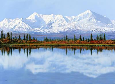 Ski Painting - mount Denali in Alaska by Guido Borelli