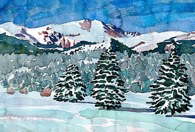 Painting - Mount Evans Winter Watercolor by Dan Miller