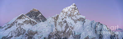 Photograph - Mount Everest Lhotse And Ama Dablam Just After Sunset Panorama by Mike Reid