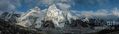 Photograph - Mount Everest Lhotse And Ama Dablam Panorama by Mike Reid