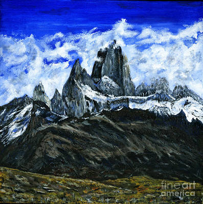 Laundry Painting - Mount Fitz Roy Painting by Timothy Hacker