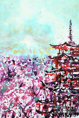 Mount Fuji And The Chureito Pagoda In Spring Art Print