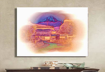 Digital Art - Mount Fuji Illustrated by Mario Carini