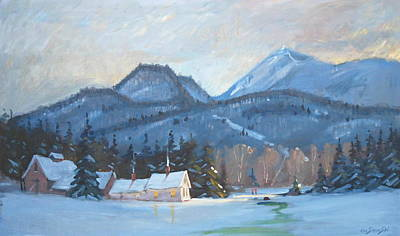 Winter Scene Painting - Mount Greylock by Len Stomski