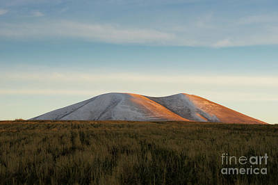 Photograph - Mount Gutanasar In Front Of Wheat Field At Sunset, Armenia by Gurgen Bakhshetsyan