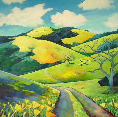 Northern California Painting - Mount Hamilton Poppies by Stephanie  Maclean
