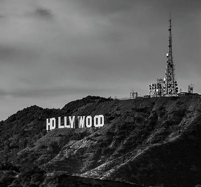 Photograph - Mount Hollywood - Hollywood Sign - Black And White by Gene Parks