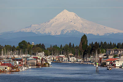 Landscape Photograph - Mount Hood And Columbia River House Boats by David Gn