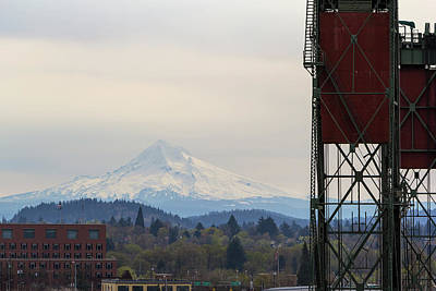 Photograph - Mount Hood And Hawthorne Bridge Closeup by Jit Lim
