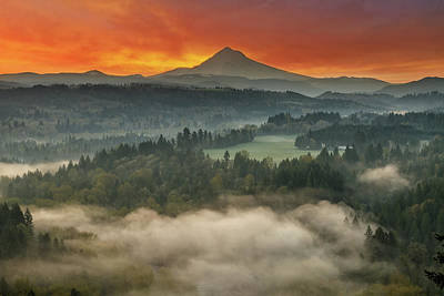 Mount Hood And Sandy River Valley Sunrise Art Print by David Gn