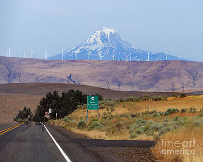 Photograph - Mount Hood And Wind Turbines, Oregon by Catherine Sherman