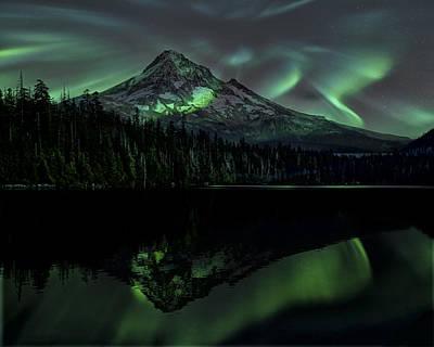 Photograph - Mount Hood Aurora Borealis I by Gigi Ebert