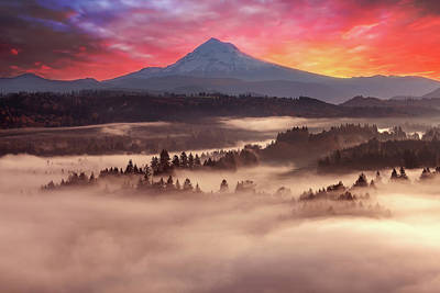 Photograph - Mount Hood Foggy Sunrise by David Gn