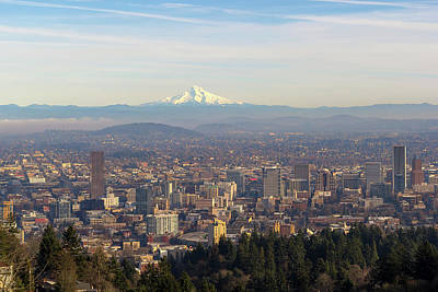 Mount Hood Over City Of Portland Oregon Art Print by David Gn