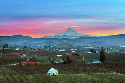 Farmland Photograph - Mount Hood Over Hood River At Sunset by David Gn