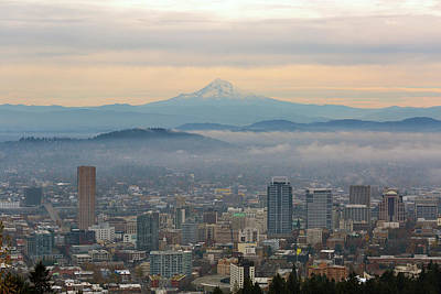 Photograph - Mount Hood Over Portland Downtown Cityscape by David Gn