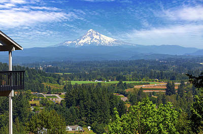 Photograph - Mount Hood View From Backyard Deck by David Gn