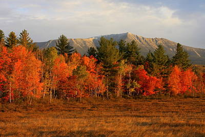 Mount Katahdin Autumn Morning Art Print by John Burk