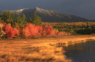 Mount Katahdin Snow Foliage Art Print by John Burk