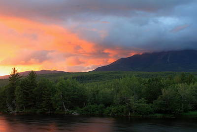 Mount Katahdin Sunset Art Print by John Burk