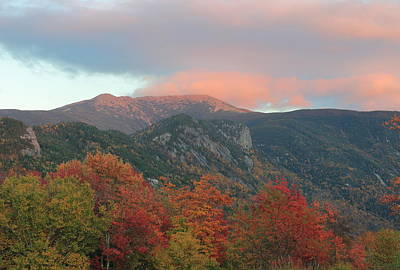Photograph - Mount Lafayette Autumn Sunset by John Burk