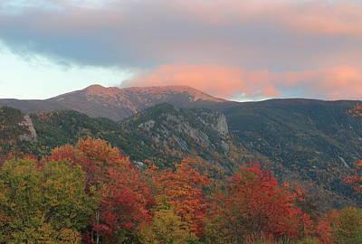 Photograph - Mount Lafayette Autumn Sunset by John Burk